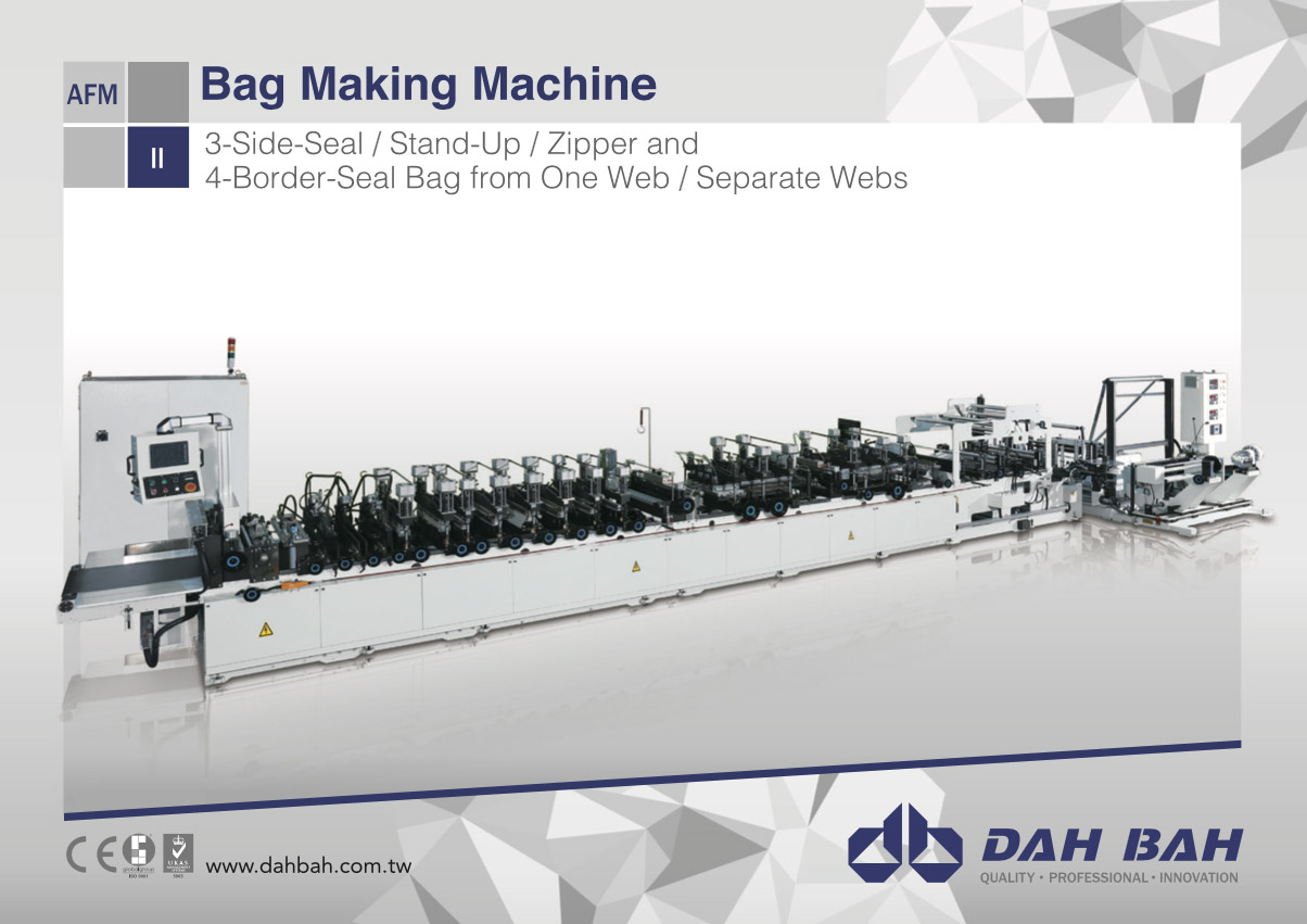 Bag Making Machine(3-Side-Seal/Stand-up/Zipper and 4-Border-Seal Bag form One Web/Separate Webs) - AFM Series
